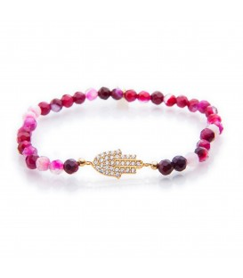 Lucky Eyes Pink Agate Bracelet with Crystal Charm