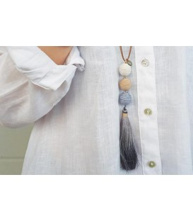 Boho Betty Tefnut Grey Tassel Necklace