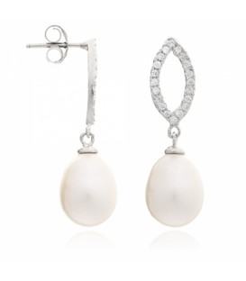 Pave Earrings With Tear Drop Pearls