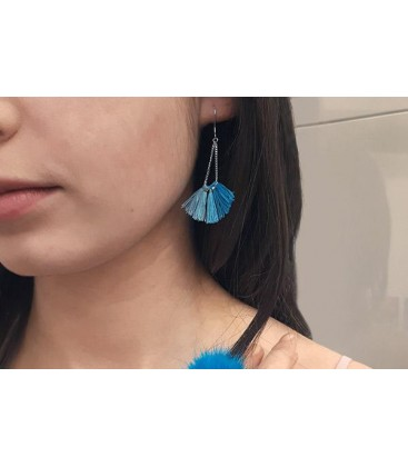 Boho Betty Kai Aqua Ombre Tassel Earrings