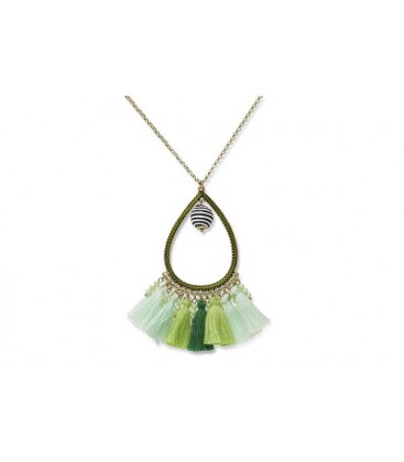 Bahiti Green Ombre Tasseled Necklace