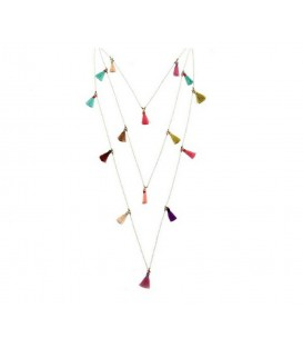 Boho Betty Ceres White chain Necklace with Multi Coloured Tassels