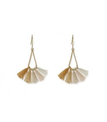 Boho Betty Ray Gold, Beige Ombre Tassel Earrings