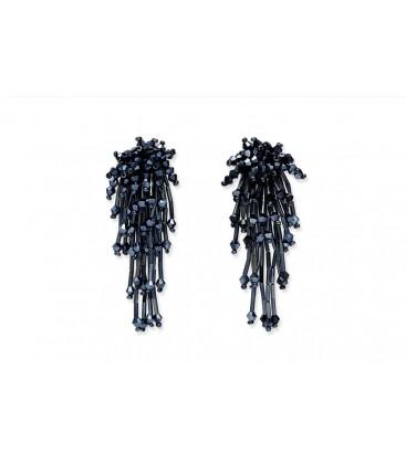 Boho Betty Nautilus, Natural, Beaded Loop Hoop Earrings