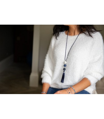 Boho Betty Asherah Tassel Blue Necklace