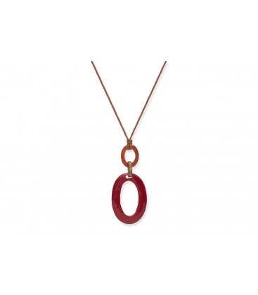 Boho Betty Elpis Horn, Red, Orange and Tan Necklace