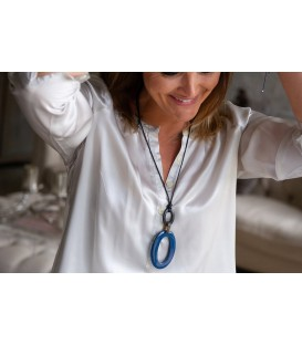 Boho Betty Antheia Horn Black & Blue Necklace