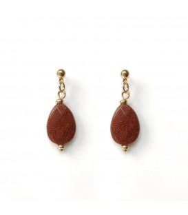 Bcharmd Powers semi precious caramel sandstone earrings
