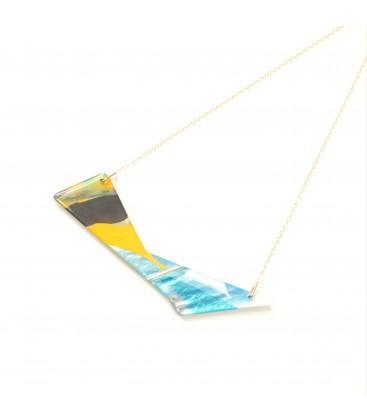 Jojo Blue 'Triangle' Yellow/Silver Grey Necklace