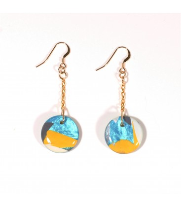JoJo Blue Round Spring Earrings