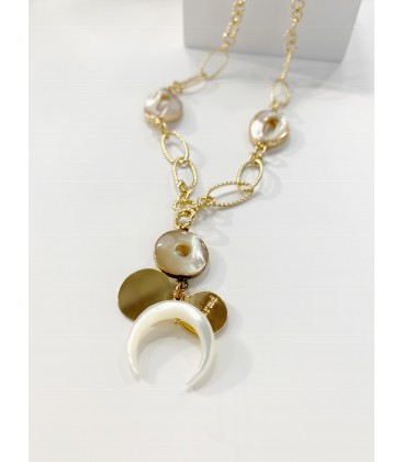 Bcharmd Daisy Seashell Necklace Gold