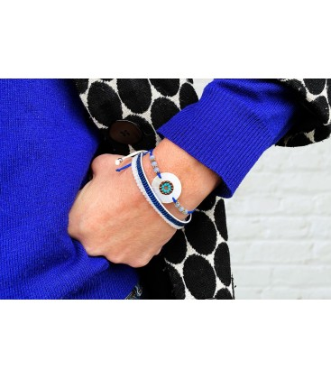 Boho Betty Hornpipe Grey Friendship Disc Bracelet