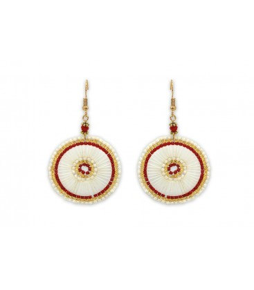 Boho Betty Sousta MOP Red Beaded Statement Earrings