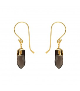 Mirabelle Mini Point Smokey Quartz Earrings