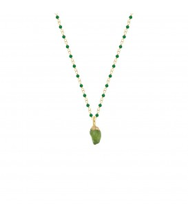 Mirabelle Green Onyx Rosary with Raw Peridot Pendant