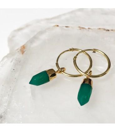 Mirabelle Mini Point Green Onyx Earrings