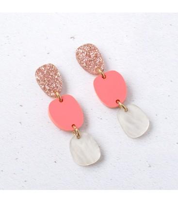 Lily Earrings - Pink Glitter