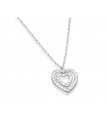 Heart Shaped Crystal & Silver Plated Necklace