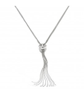 Long Silver/Crystal Pendant with Tassel