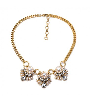 Pearl & Crystal Cluster on Chunky Antique Gold Chain