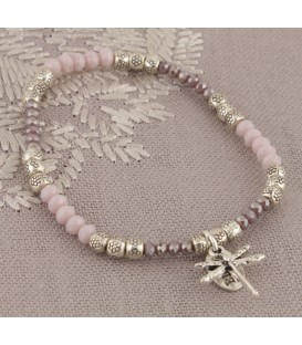 Rosa Bracelet in Pink Crystal with Dragonfly Charm