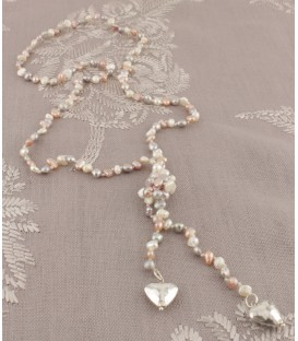 Eva Necklace in Cream Pink & Grey Pearl