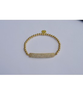 Gold Flat Crystal Bar Bracelet