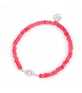 Summer Pink Beaded Bracelet with Crystal Charm