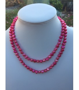 "40"" Potato Pearl Loop Bright Pink"