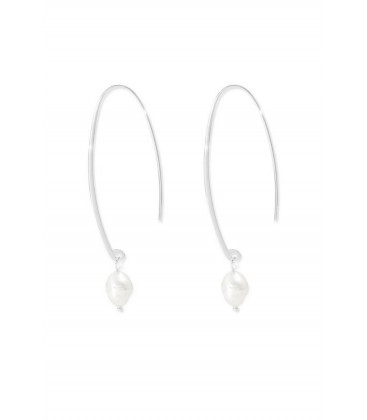 Boho Betty Trebbiano Sterling Silver Thread Through Earrings with Pearl