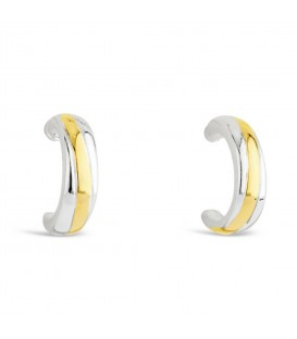 Silver with Gold Small Semi Hoop Earrings