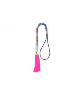 Boho Betty Maat Beaded Necklace Flouro Pink
